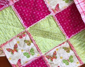 Butterfly Rag Quilt for Baby or Toddler Girl Nursery in Bright Pink, Coral, & Lime Green