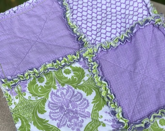Lime Green, Lavender, and White Rag-Style Quilt for Baby, Toddler, or Throw Quilt