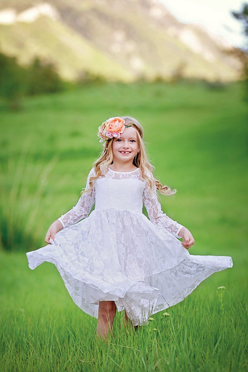 White Lace Flower Girl Dress Rustic Flower Girl Long Sleeve Boho Flower Girl Dresses