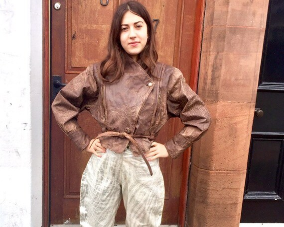 Batwing 80s Leather Jacket - Vintage Distressed Le