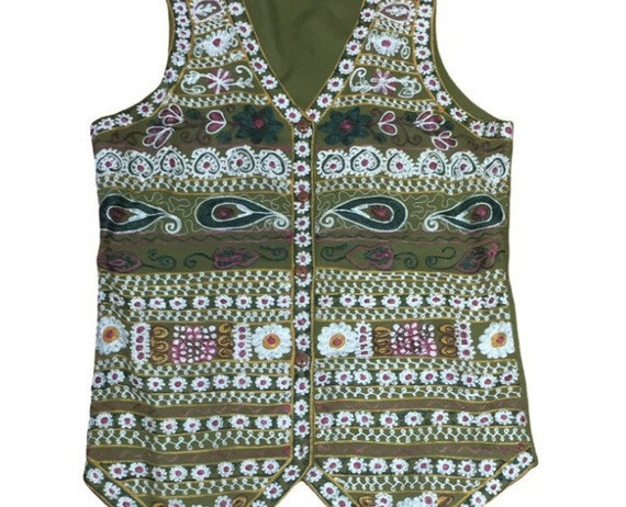 Vintage Embroidered Waistcoat Vest. 1970s-90s