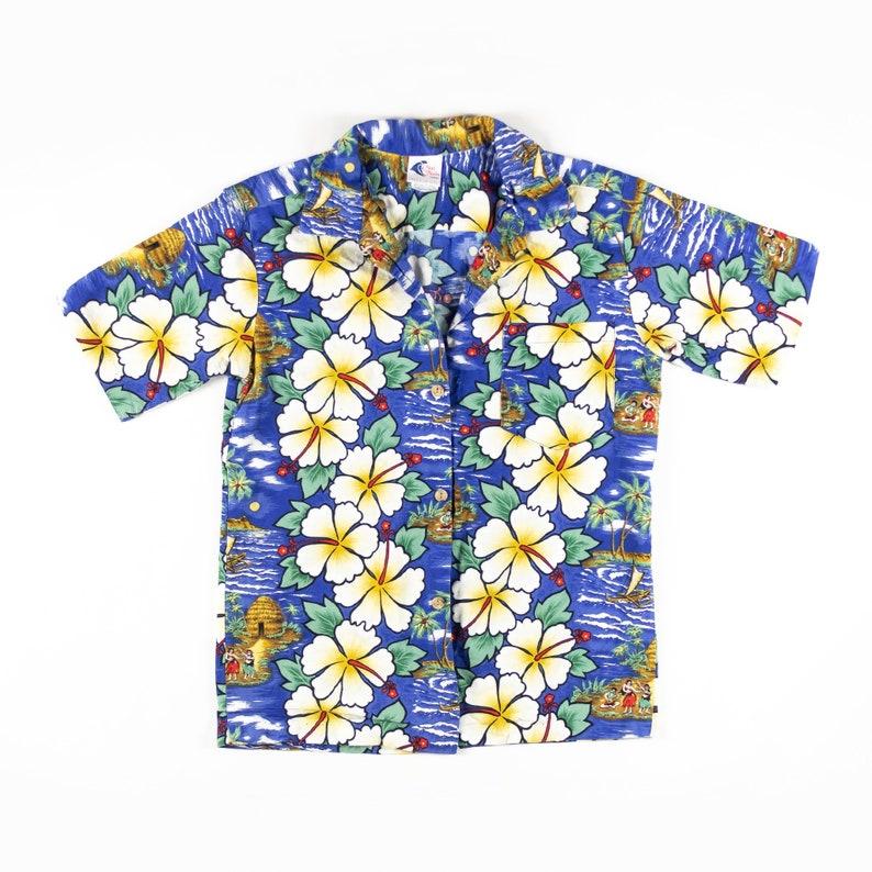 Vintage Beautiful Naui Nalo Print Hawaiian Shirt Made in Hawaii L sz