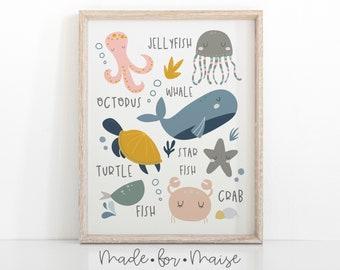 word art picture personalised gift present keepsake Crab octopus whale sealife