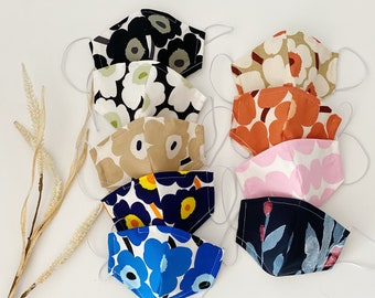 NEW Nose wire Marimekko fabric mask, adjustable, washable, light weight, cotton face mask, breathable Sydney stocks