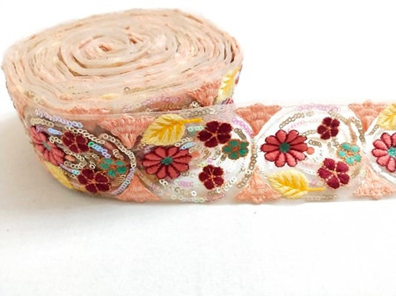 MultiColour Floral Embroidery Sequence Work Net Laces 10 Yards