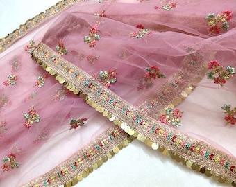 Beautiful Pink Embroidery Sequins Work Net Dupatta