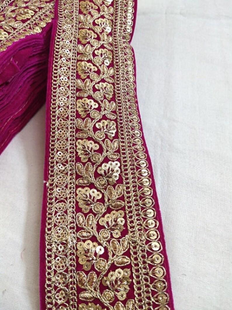 Dark Pink Velvet Sequence Work Floral Design Laces 10 Yards