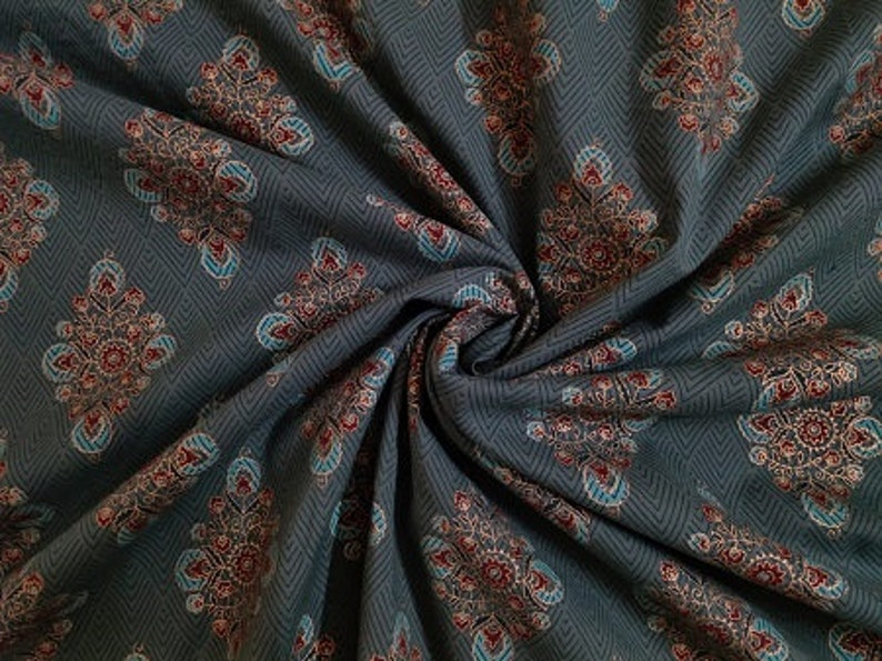 Teal Green Printed Cotton Fabric By Yard