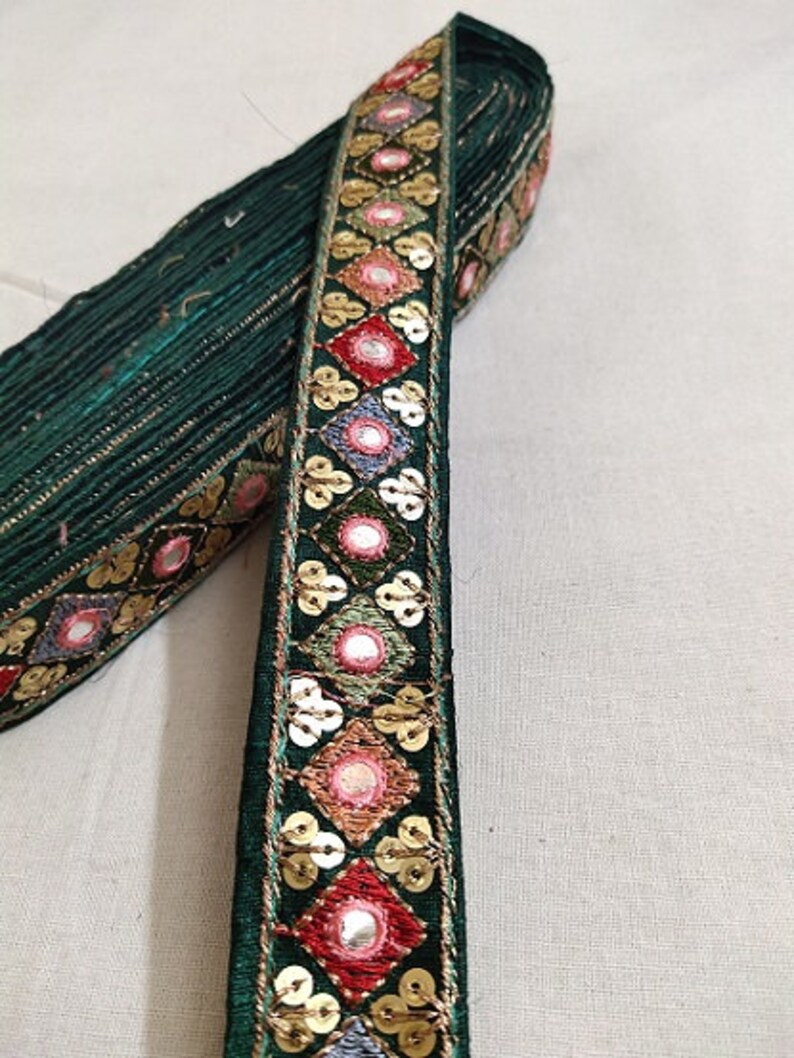 Bottle Green Embroidery Sequence Mirror Work Laces 10 Yards