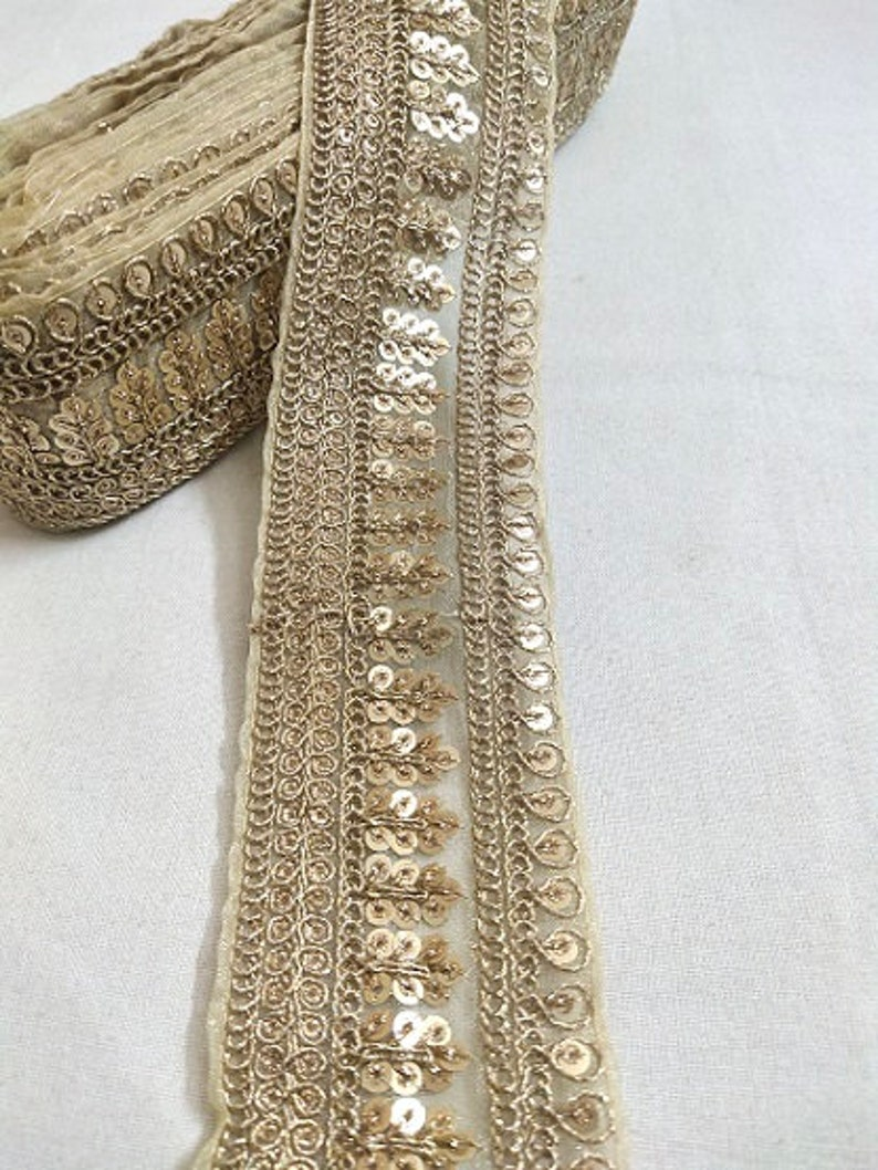 Golden Floral Sequence Work Net Laces 10 Yards