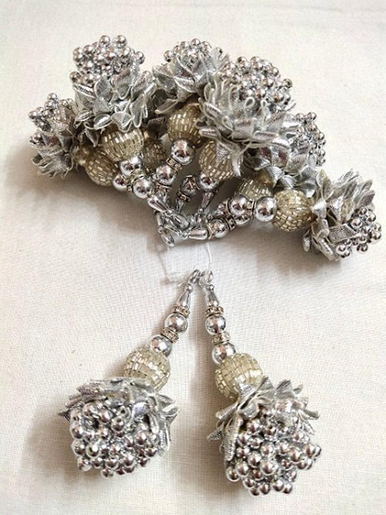 Silver Gota Beads Work Tassels By Pair