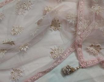 Beautiful Light Pink Floral Embroidery Sequins Work Net Dupatta