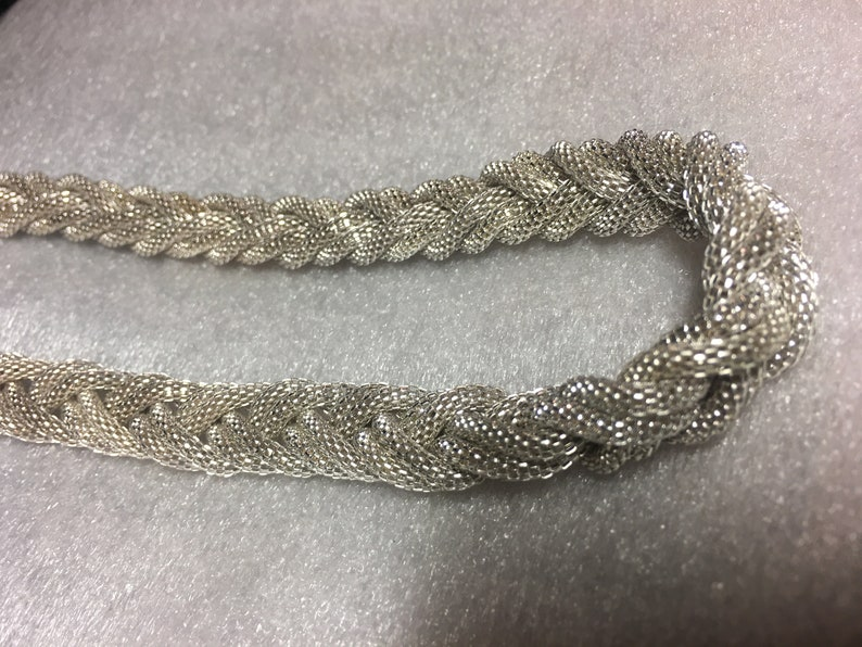Silver Tone 18 Braided Mesh Necklace ; Mesh Necklace ; Silver Braided Mesh Necklace ; Necklace ; Fashion Necklace
