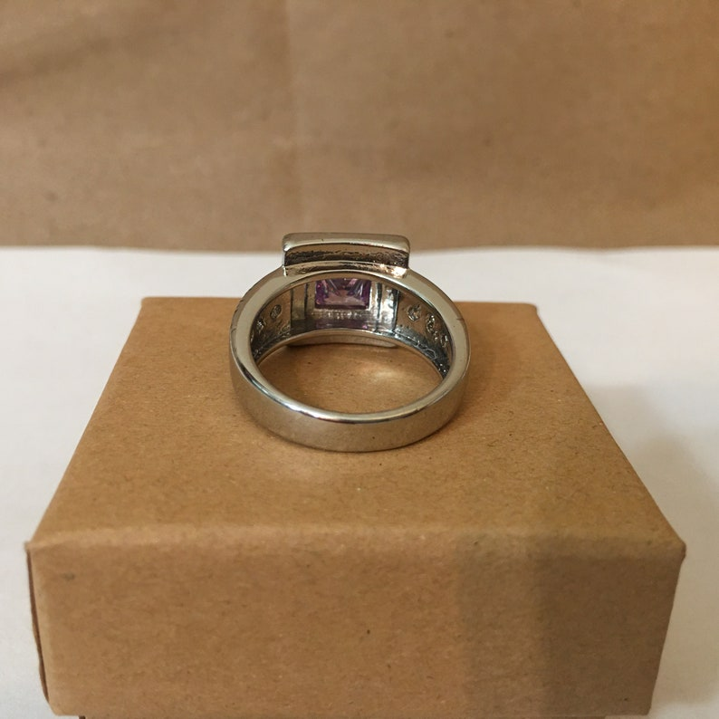 Silver Tone  Wide Band Prong Set Princess Cut Purple Amethyst /& CZ Accent Ring ; Silver Tone Amethyst Ring ; Edgy Purple Amethyst Ring