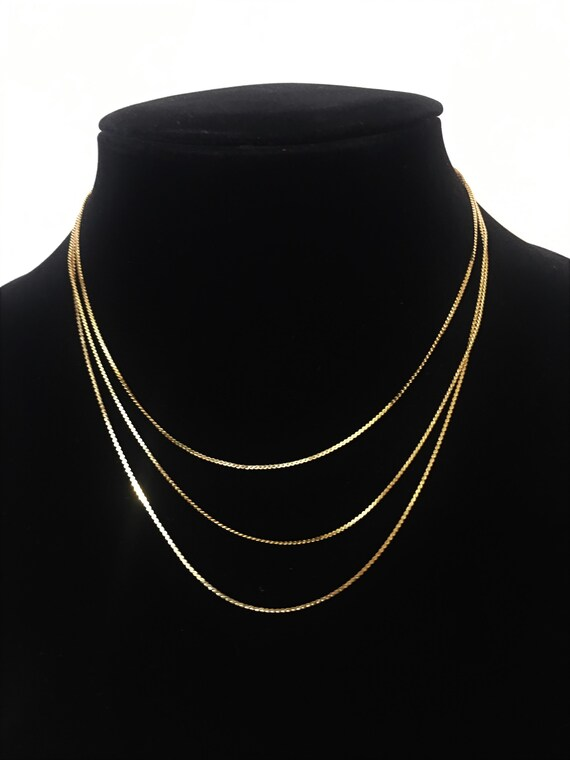 Vintage Korean Gold Tone 3 Chain Choker Necklace ;