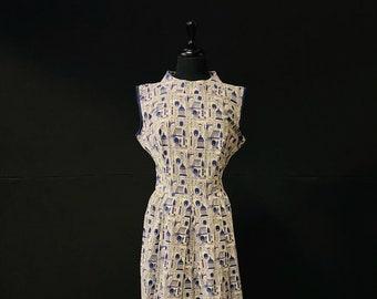 1960's English Printed Summer Dress - Amazing Print