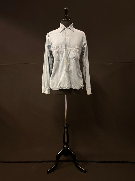 1950's Pilgrim Pale Blue Corduroy Shirt