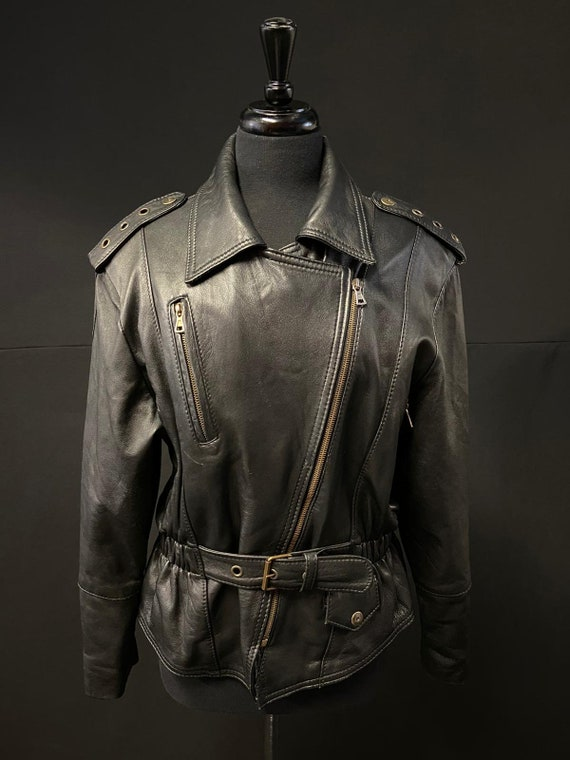 1980's Black Leather Motorcycle Jacket - image 2