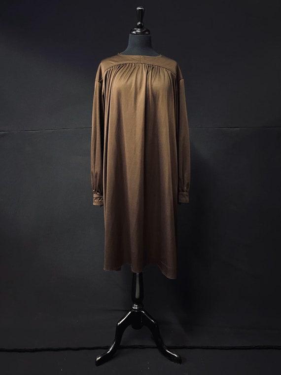 1970's Chocolate Brown Smock Dress