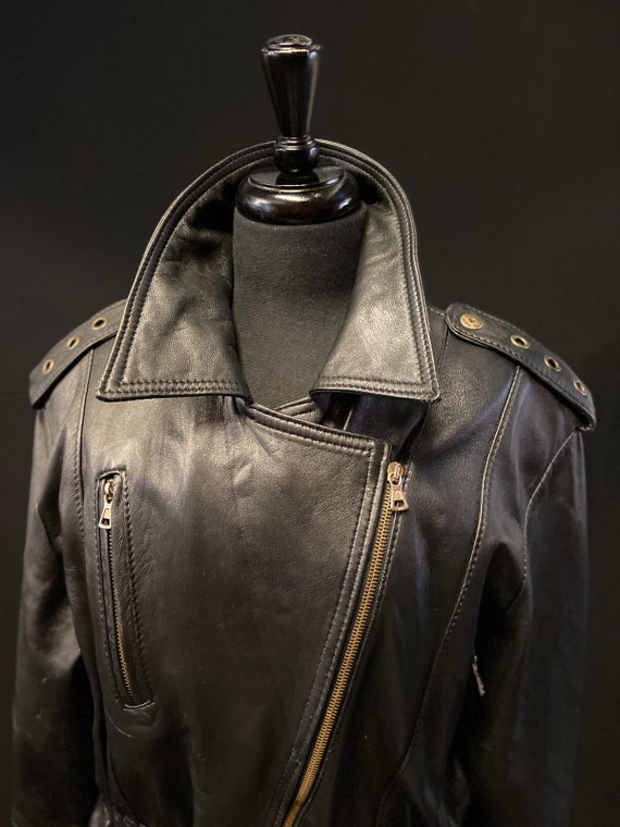1980's Black Leather Motorcycle Jacket - image 5
