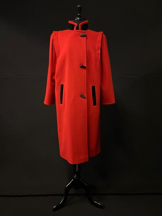 1980's Red & Black Coat - Nehru Collar - Fantastic