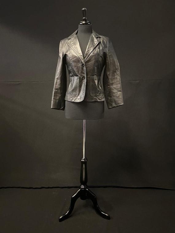 Black Leather Blazer Jacket