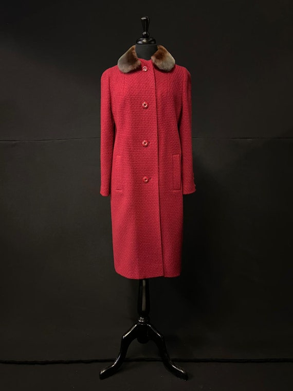 1950's Red Woolen Overcoat w Beaver Lamb Collar