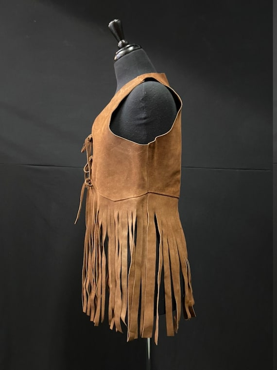 Iconic 1970's Brown Suede Fringe Vest - image 3