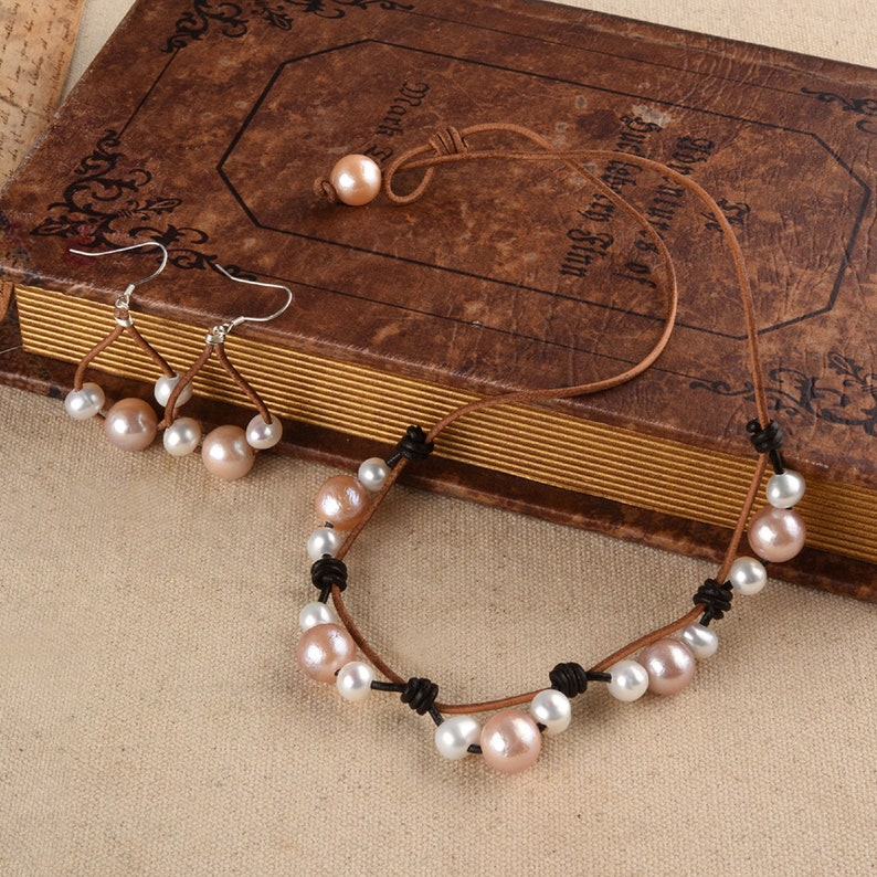 Pink White Pearls Leather Jewelry Set-Leather Pearl Necklace-925 Silver and Pearl Earrings-Gift for Her
