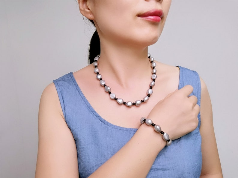 Gray Baroque Pearl Jewelry Set-Black Leather Bracelet-Genuine Freshwater Pearl  Necklace-Gift for Her