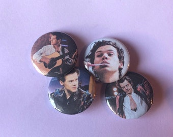 """2 HARRY STYLES 25mm 1/"""" Pin Badge Button ONE DIRECTION MUSIC"""