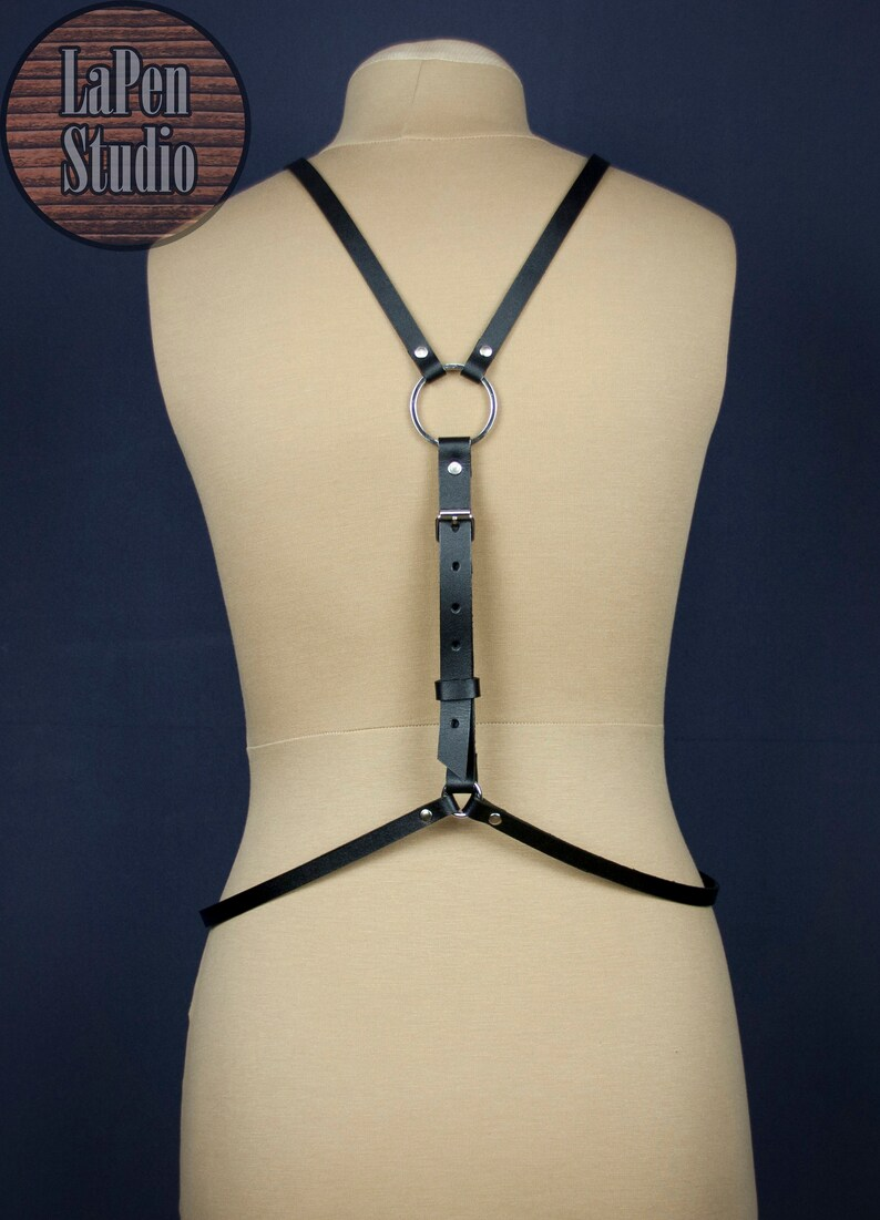 Leather Harness with Detailing on the Belly  Women Harness with O-Rings