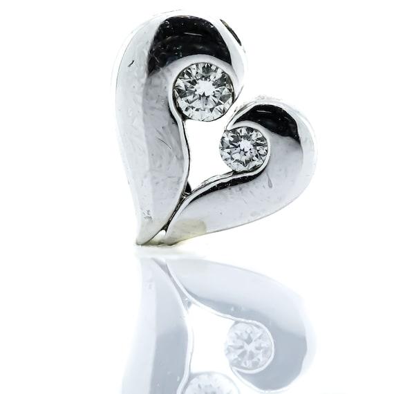 14K White Gold Channel Set Diamonds Heart Pendant