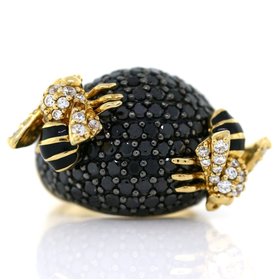 Gold Colour Yellow Enamel Bumble BeeClear CZ Crystal Gem Adjustable Ring UK