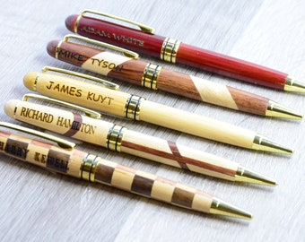 Custom Customized Personalized Bamboo Laserable Ballpoint Pen with Stylus Your Text or Name Engraved Bamboo