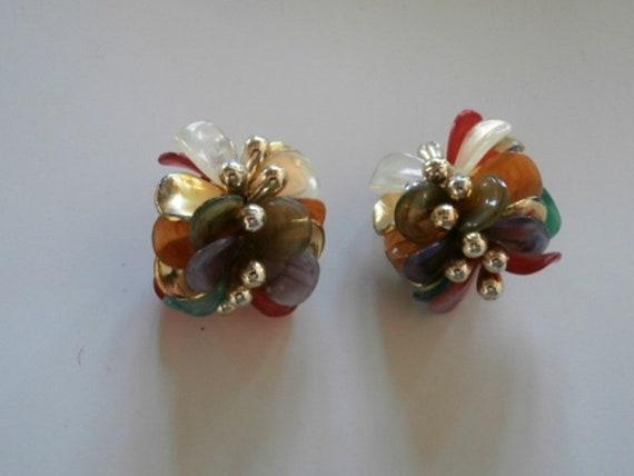 Brooch /& Pendant Necklace Clip Earrings Vintage Italian Art Glass Parure 1168