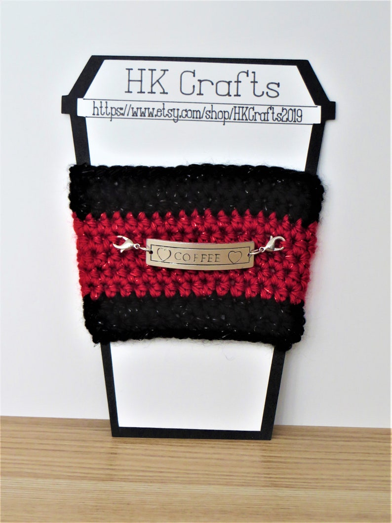 Crocheted Coffee Sleeve with Tag: fully customizable image 0