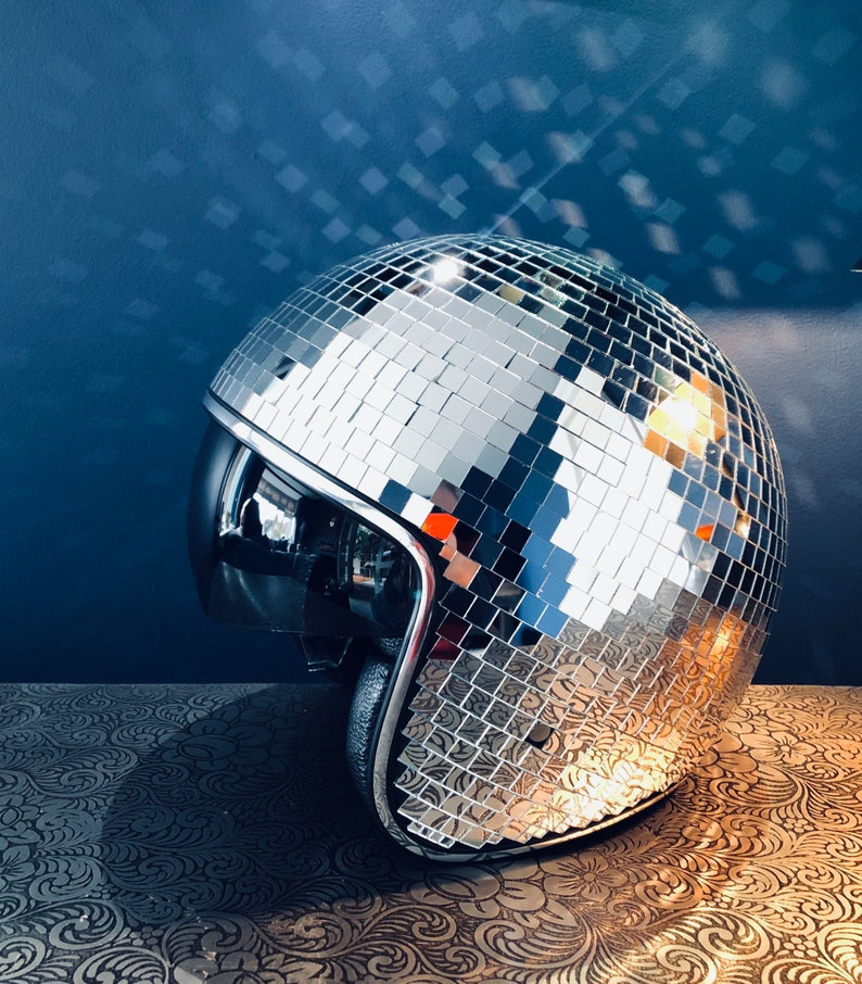 Disco ball Helmet with Retractable Visor QUICK DELIVERY Silver