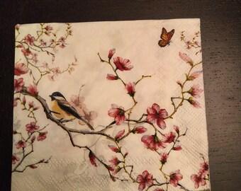 Weddings Cherry Blossom Serviettes for Decoupage Parties 2 Paper Napkins