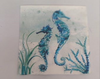 Two (2) Paper Cocktail Napkins for Decoupage, Mixed Media & Paper Crafts. Aqua World Sea Horse