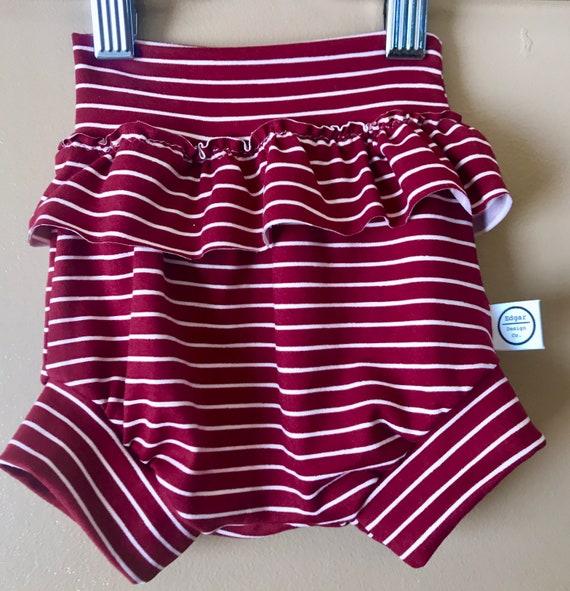 high waisted shorts Brick Stripe Baby shorts  bloomers  shorties high waisted bloomers baby girl bloomers baby ruffle shorts