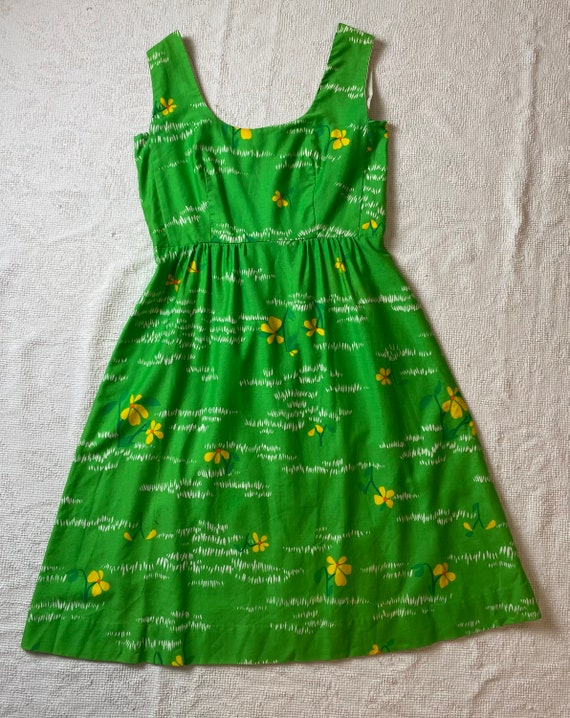Vintage 1970's Malia Honolulu Green Hawaiian Dress