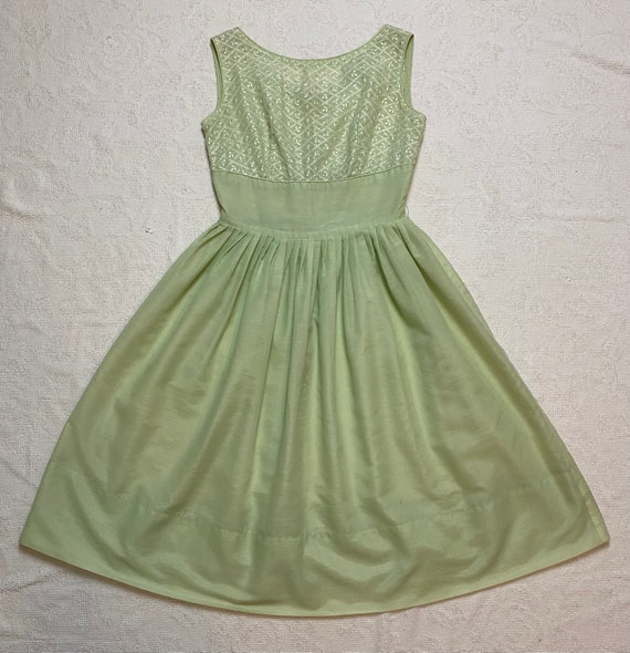 Vintage 1950's Green Eyelet Day Dress