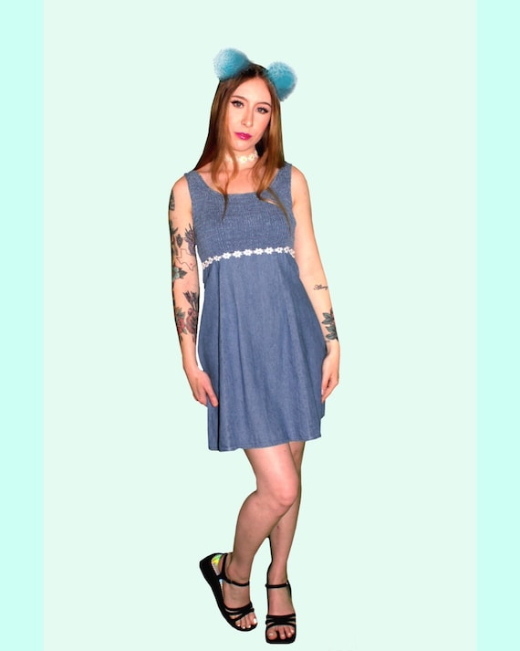 1990's Denim Daisy Dress
