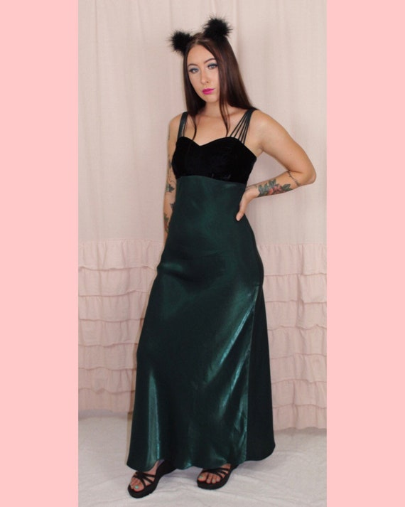 All That Jazz Black Velvet and Green Party Dress