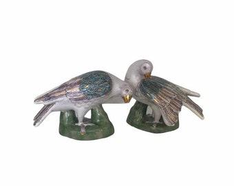 Vintage Chinese Famille Rose Dove Bird Sculpture Figurines - a Pair - Asian Oriental Palm Beach Boho Chic Coastal Tropical