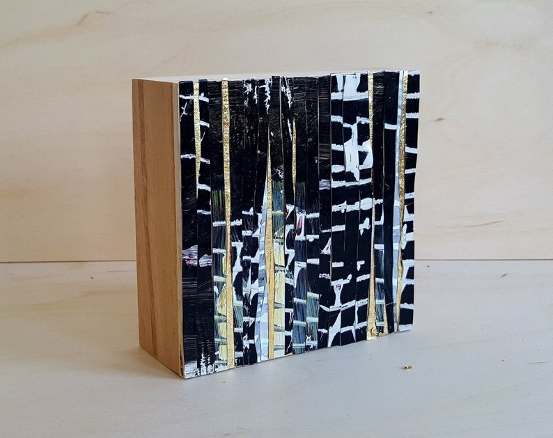Mini Abstract Painting Black Over Gold image 0