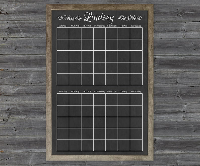 24x36 Two-Month Personalized Chalkboard Calendar Digital File Personalized Dry Erase Calendar Digital File