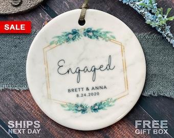 Engaged Christmas Ornament - Custom Engagement Keepsake - Personalized First Christmas Engaged - Classic Engaged Ornament