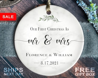 First Christmas Married Ornament - Mr and Mrs Sprig Christmas Ornament - Our First Christmas Married as Mr and Mrs Ornament - Personalized